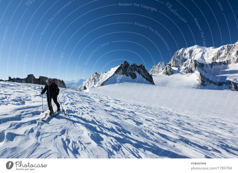 Ski mountaineer, Mont Blanc. Chamonix Human being Sky Nature Vacation & Travel Man Beautiful White Landscape Winter Mountain Adults Sports Snow Tourism Hiking