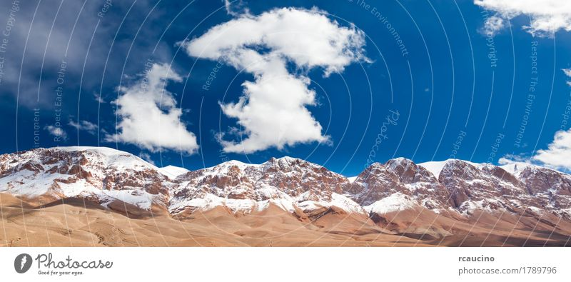 Morocco mountain: snowed High Atlas, Dades Valley. Snow Mountain Landscape Sky Clouds Blue Africa atlas dades maroc marocco peak Wilderness Colour photo