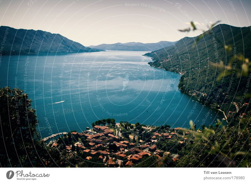 Nature Water Blue Green Red Vacation & Travel Summer House (Residential Structure) Relaxation Landscape Mountain Lake Watercraft Canton Tessin Switzerland Idyll