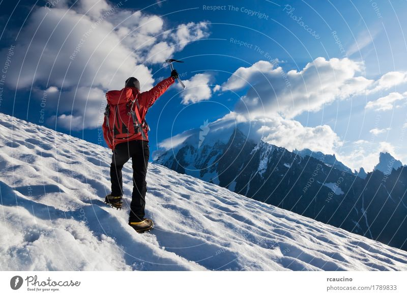 Mountaineer walking uphill on a glacier. Mont Blanc, France. Adventure Expedition Winter Snow Climbing Mountaineering Success Human being Boy (child) Man Adults