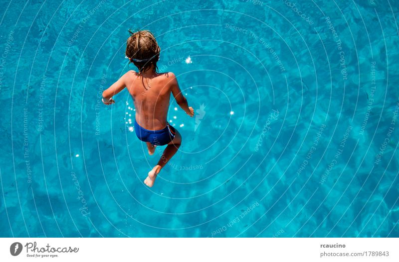Boy jumping into sea water Joy Relaxation Vacation & Travel Tourism Summer Ocean Child Boy (child) Man Adults Jump Blue Turquoise White clear Crisp Horizontal
