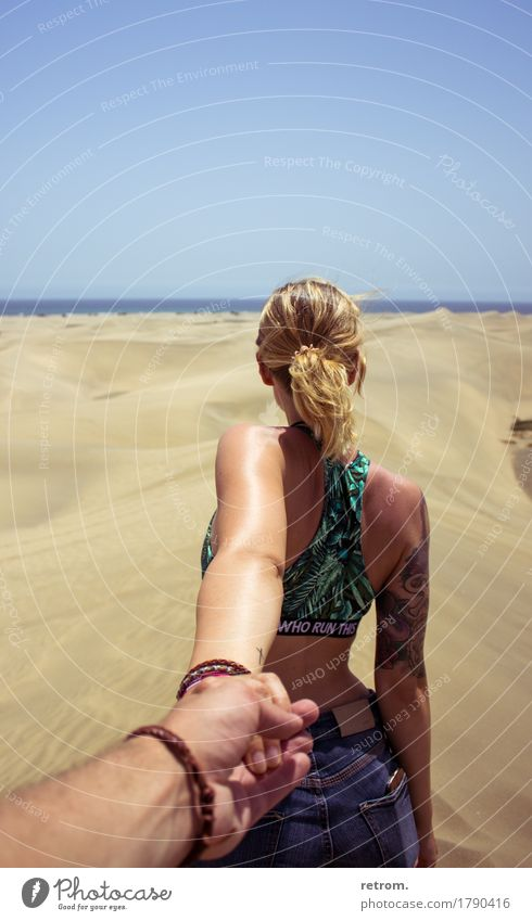 hand in hand Vacation & Travel Adventure Far-off places Freedom Summer Sun Feminine Young woman Youth (Young adults) 18 - 30 years Adults Sand Cloudless sky