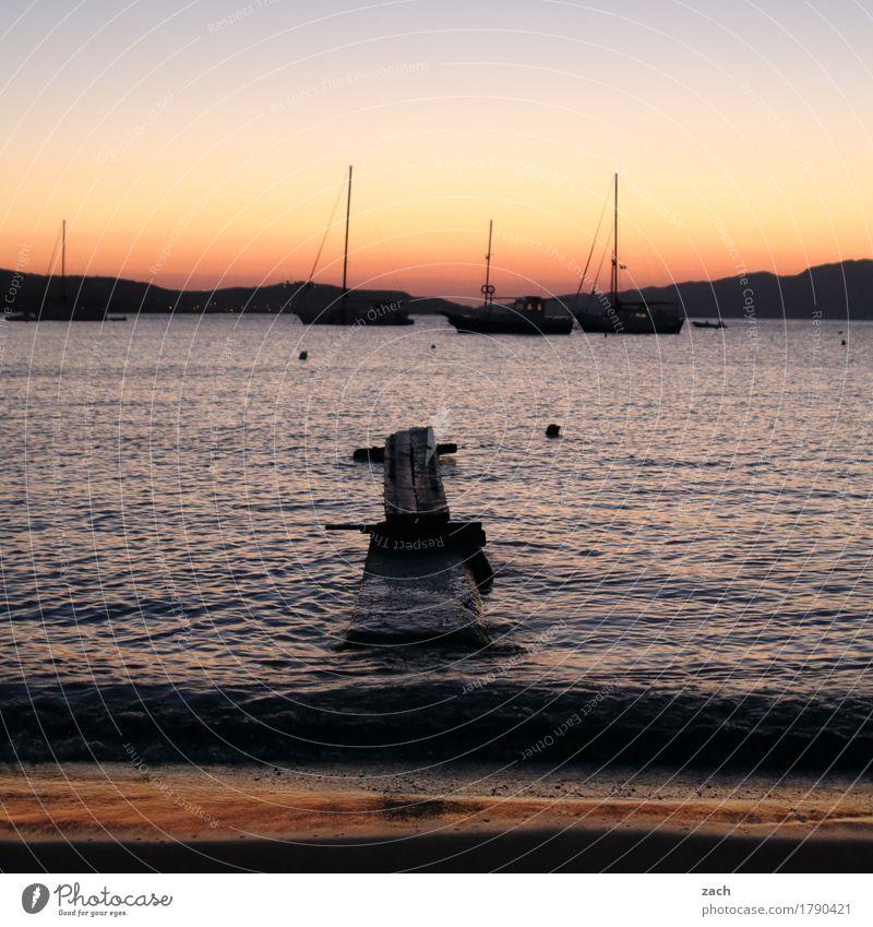 file Sailing Water Cloudless sky Night sky Sunrise Sunset Summer Beautiful weather Hill Waves Coast Beach Ocean Mediterranean sea Aegean Sea Island Cyclades