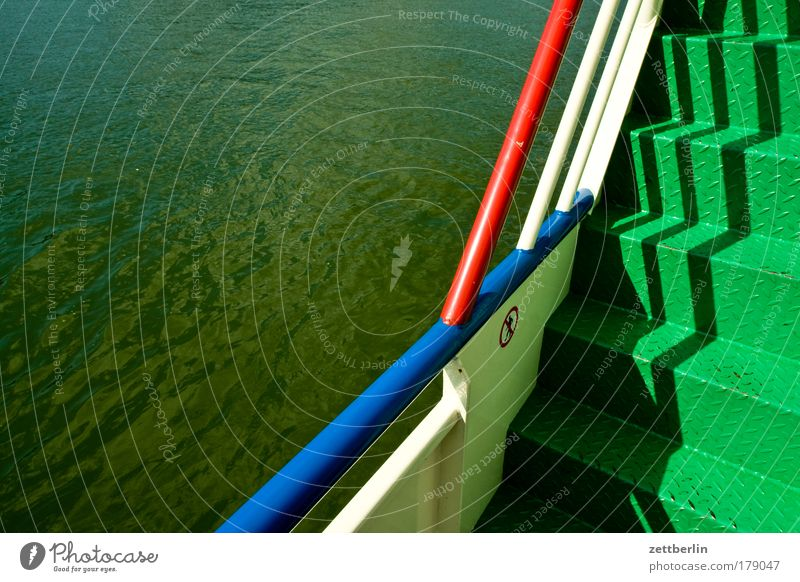 Water Watercraft Stairs Logistics River Level Navigation Handrail Career Banister Passenger traffic Bridge railing Ferry Copy Space Deck