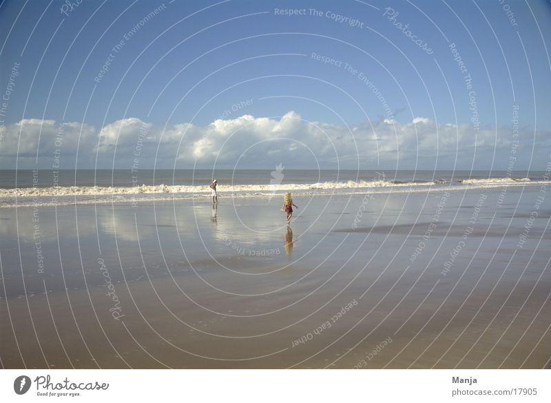 beach Beach Ocean Clouds Reflection Man Child Brazil South America Human being