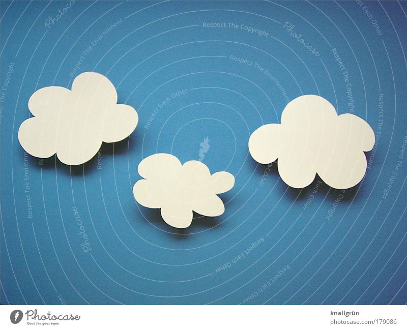 fleecy clouds Colour photo Studio shot Close-up Deserted Copy Space top Copy Space bottom Neutral Background Sky Clouds Beautiful weather Happiness Blue White