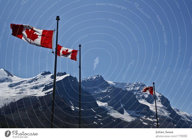 Nature Sky Blue Snow Mountain Landscape Adventure Flag Canada