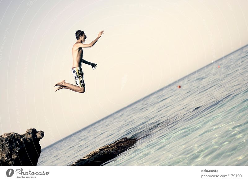 Jump Human being Nature Youth (Young adults) Water Vacation & Travel Ocean Summer Beach Joy Adults Life Environment Freedom Air Healthy