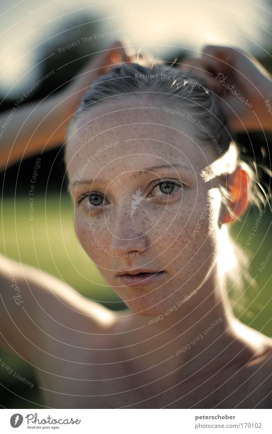 rungs Colour photo Exterior shot Copy Space bottom Sunlight Shallow depth of field Portrait photograph Upper body Looking into the camera Beautiful Face