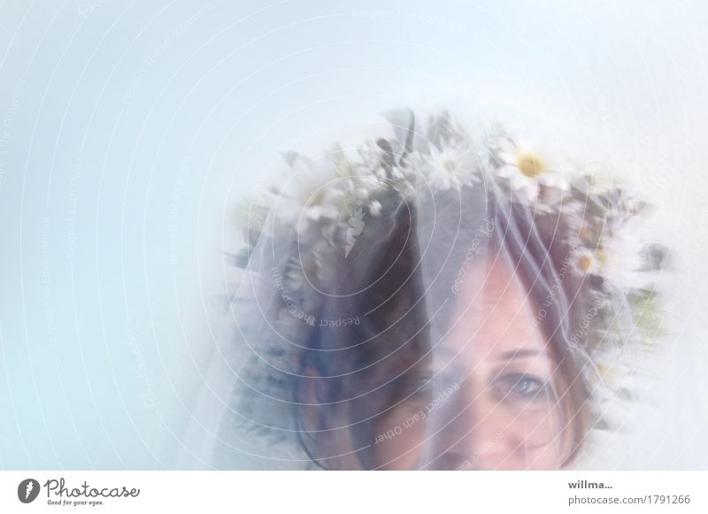 Happy bride with veil and wreath Bride Face Bridal veil Flower wreath Vail Wedding Feminine Woman Adults Delicate Looking into the camera Pastel tone Mysterious