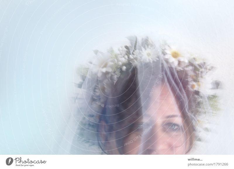 Woman Face Adults Eyes Feminine Happy Wedding Vail Bridal veil Flower wreath