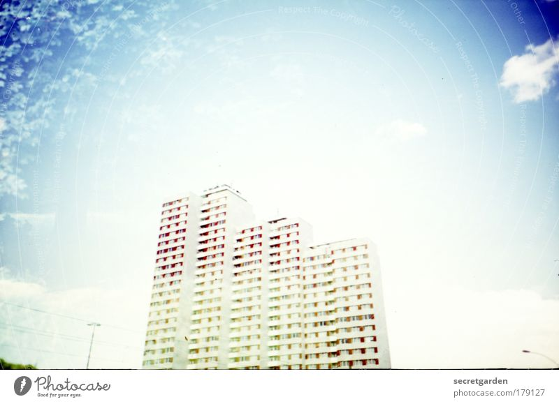 Blue White City Summer Clouds House (Residential Structure) Above Architecture Flat (apartment) Tall Large Esthetic High-rise Illuminate Construction site Retro