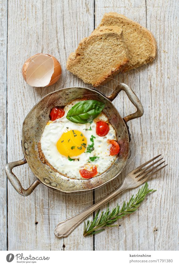 Fried egg with tomatoes, homemade bread and herbs Green Red Yellow Wood Food Fresh Cooking Vegetable Farm Breakfast Bread Dinner Meal Tomato Rustic Unhealthy