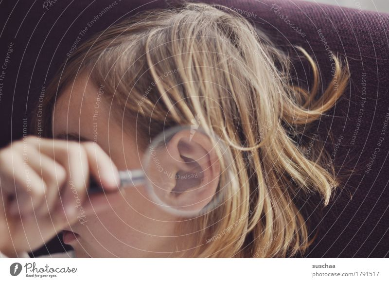 hear better Head Human being Child Girl Youth (Young adults) Young woman Hand Magnifying glass Ear Enlarged Outer ear Listening Sense of hearing Acoustic