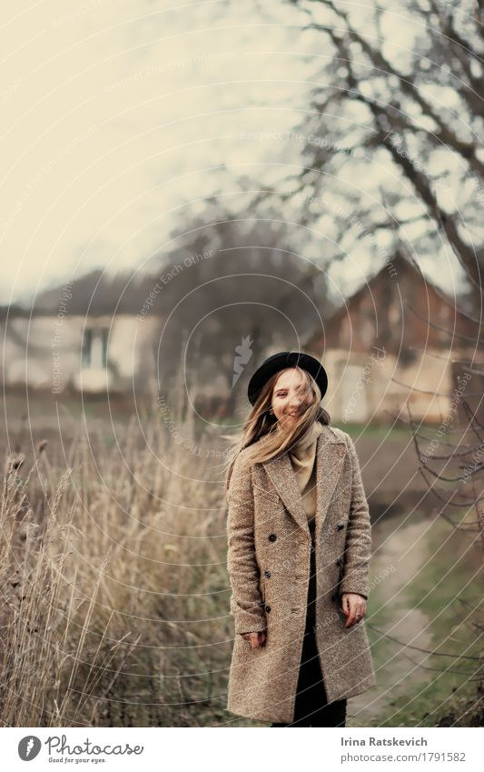 funny girl Young woman Youth (Young adults) Woman Adults Body 1 Human being 18 - 30 years Landscape Tree Grass Village Fashion Sweater Coat Hat Blonde Smiling