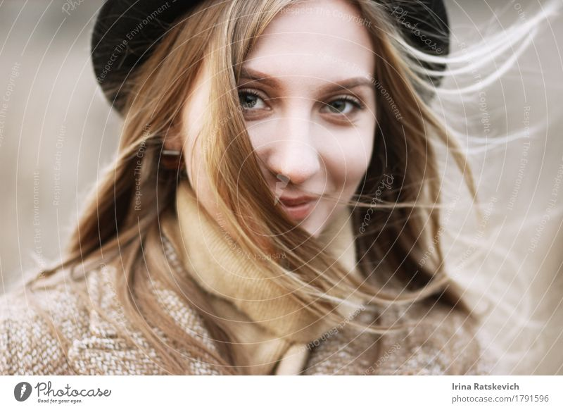 smiley girl in hat Young woman Youth (Young adults) Woman Adults Hair and hairstyles Face 1 Human being 18 - 30 years Wind Fashion Sweater Coat Hat Blonde