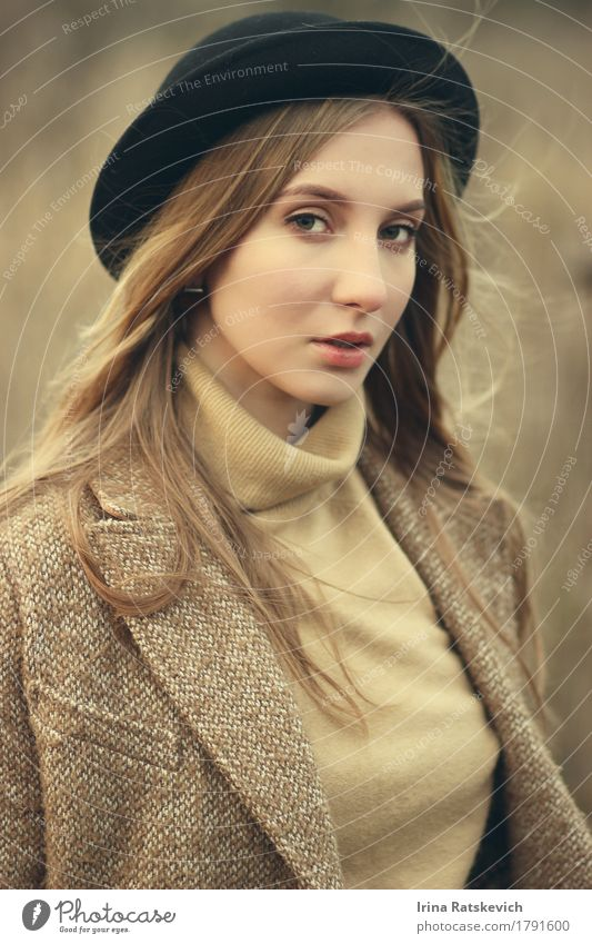 girl in hat Young woman Youth (Young adults) Hair and hairstyles 1 Human being 18 - 30 years Adults Fashion Sweater Coat Hat Blonde Thin Cold Beautiful Emotions