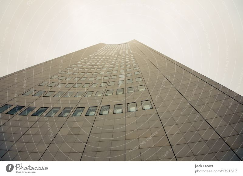 Storey house Downtown High-rise Building Facade City-Hochhaus Leipzig Granite Famousness Sharp-edged Large Hideous Tall Modern Gray Innovative Style Symmetry