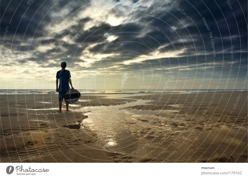 Human being Sky Youth (Young adults) Sun Vacation & Travel Ocean Summer Beach Clouds Calm Far-off places Autumn Life Freedom Coast Infancy
