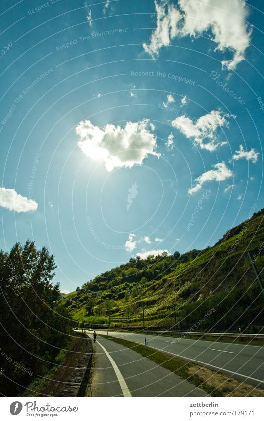 Sky Sun Summer Vacation & Travel Clouds Street Mountain Road traffic Logistics Vine Hill Blue Passenger traffic Blue sky Sky blue Copy Space