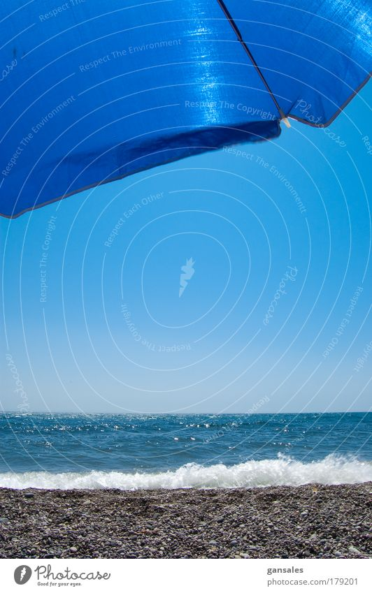 sunshade on the beach Nature Water Beautiful Sky Ocean Blue Summer Joy Beach Vacation & Travel Relaxation Warmth Bright Coast Lifestyle Happiness
