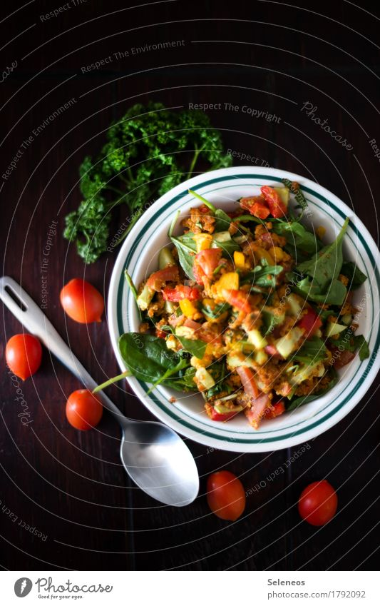 lamb's lettuce Food Vegetable Lettuce Salad Tomato Herbs and spices Parsley Nutrition Organic produce Vegetarian diet Diet Bowl Spoon Fresh Healthy Colour photo