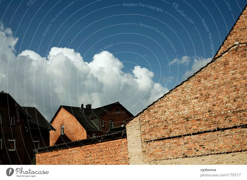 Calm House (Residential Structure) Clouds Life Wall (building) Dream Sadness Wall (barrier) Landscape Together Architecture Time Perspective Safety Esthetic Future
