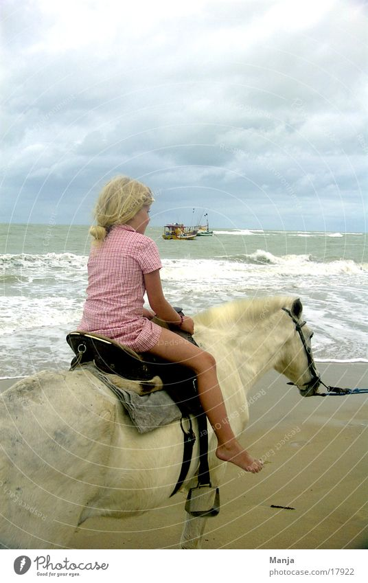 Child Girl Sky Beach Watercraft Horse Brazil Equestrian sports South America