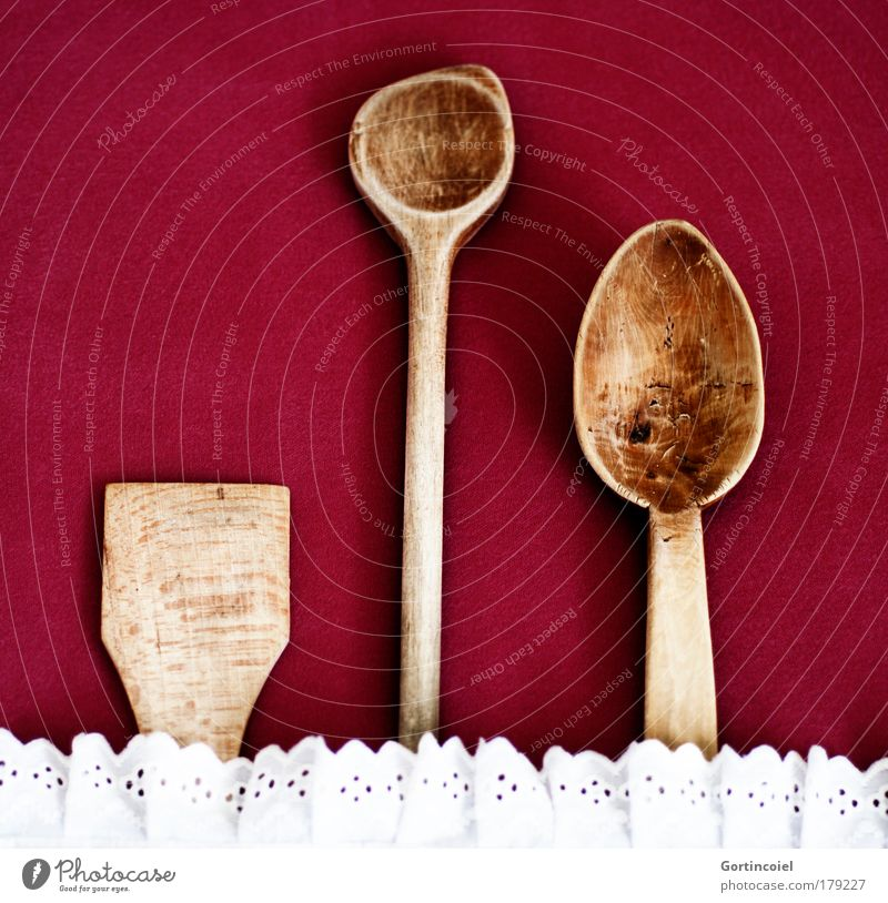 tool Wooden spoon Spoon Brown Red White Frills Kitsch Conservative Colour photo Shadow Old Arrangement Beaded Sequence Symbols and metaphors