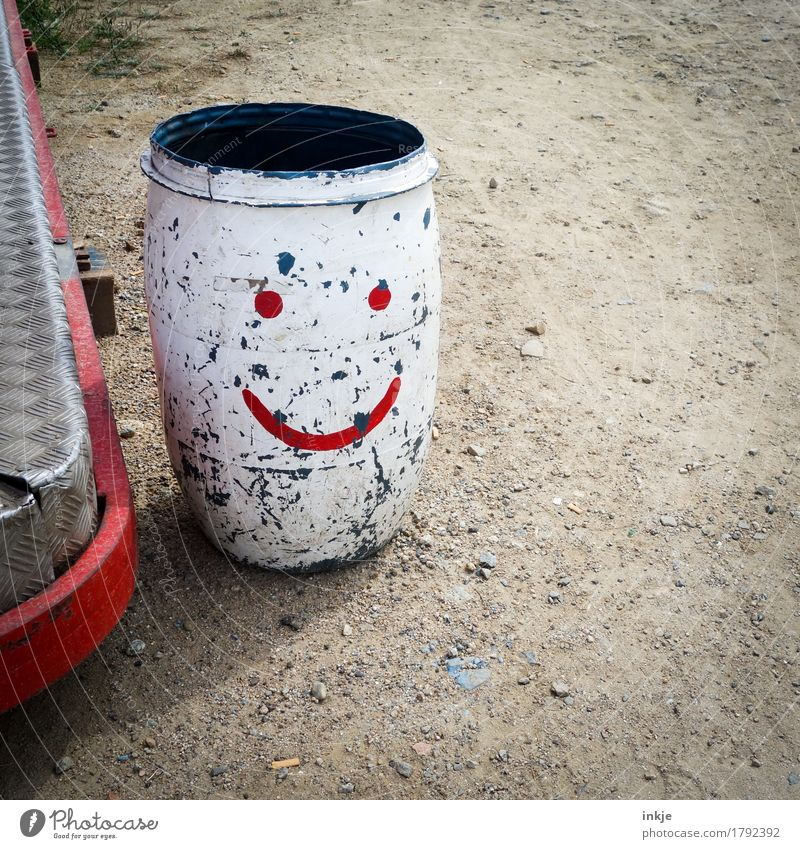 Please kindly Fairs & Carnivals Deserted Keg Trash container Bucket Sign Smiley Old Dirty Friendliness Red Arrangement Services Scratched Colour photo