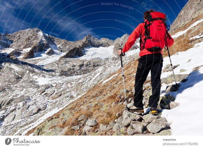 Hiker observing a high mountain panorama. Mount Blanc, Italy Sky Nature Man Blue White Landscape Red Loneliness Clouds Mountain Black Adults Autumn Sports Snow