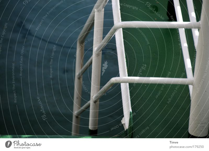 Water White Green Dark Threat To hold on Steel Navigation Handrail Downward Iron Go under Grating Ferry To swing Maritime