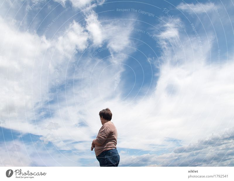 sky Woman Sky Clouds Blue Celestial bodies and the universe cosmic maternity Power Half Body White Pristine Spring Sun tender sweet Top Height Field Nature Pure