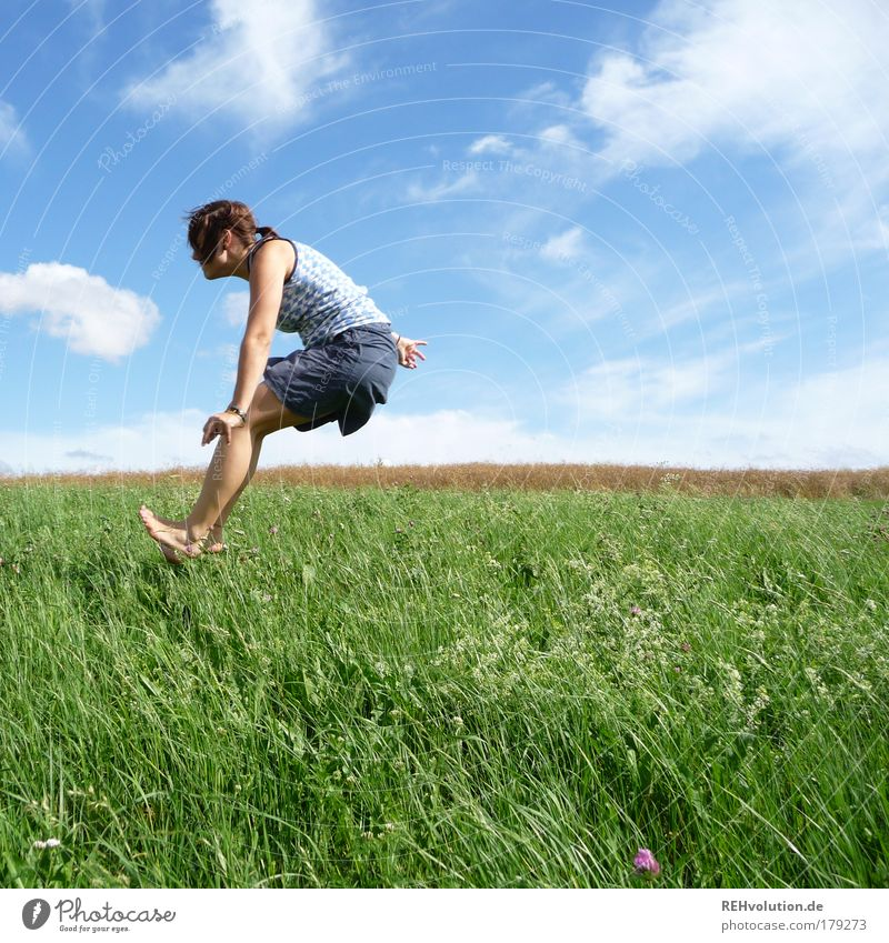 Human being Youth (Young adults) Green Summer Joy Adults Meadow Feminine Movement Grass Woman Jump Happy Funny Healthy Power