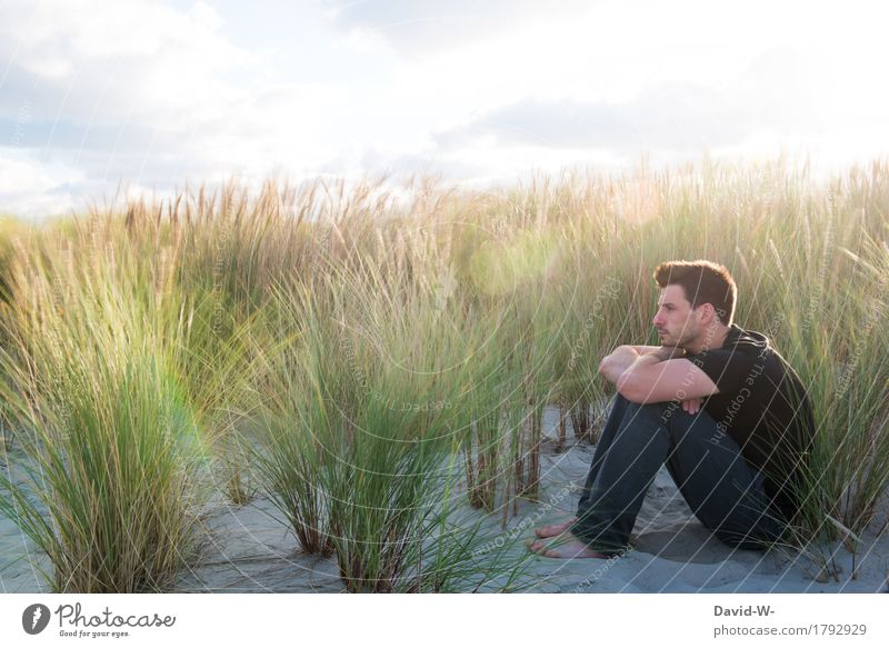 dunes Well-being Relaxation Calm Vacation & Travel Tourism Freedom Summer Summer vacation Sun Human being Masculine Young man Youth (Young adults) Man Adults