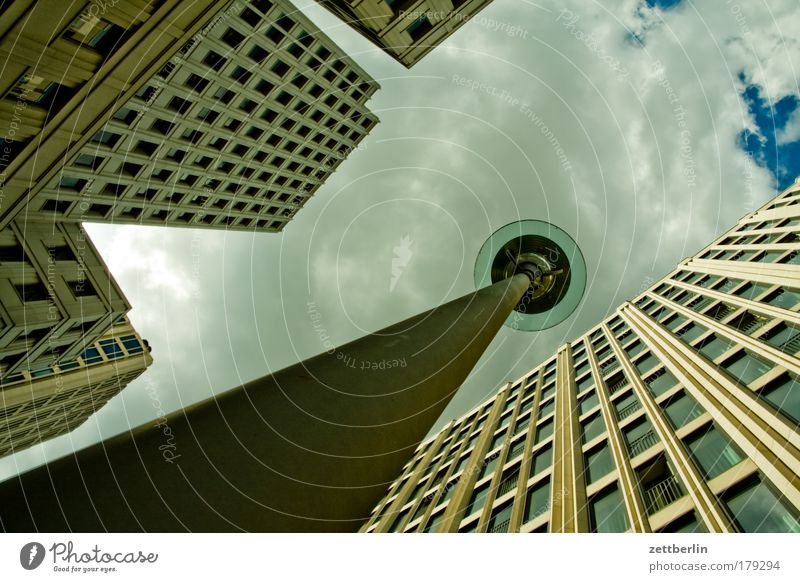 Sky Summer House (Residential Structure) Clouds Berlin Window High-rise Facade Hotel Lantern Worm's-eye view Glazed facade