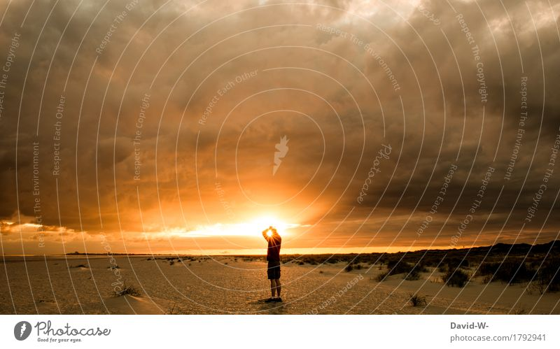 The sun is mine Human being Masculine Young man Youth (Young adults) Man Adults Life 1 Art Artist Nature Sky Clouds Sun Sunrise Sunset Sunlight Climate change