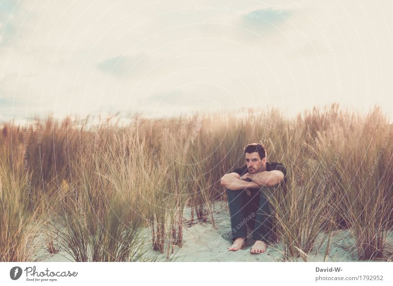 Long-term exposure in the dunes Masculine Young man Youth (Young adults) Man Adults Life 1 Human being Environment Nature Landscape Sand Beach North Sea
