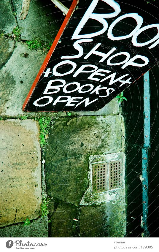 bookshop open! Colour photo Exterior shot Copy Space left Copy Space bottom Day Street Lanes & trails Green Characters Handwriting Advertisement Advertising
