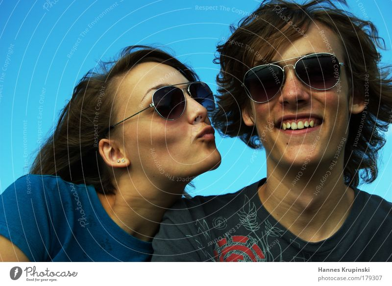 brotherly love Human being Masculine Feminine Young woman Youth (Young adults) Young man Brothers and sisters Head 2 Beautiful weather Sunglasses Part Touch