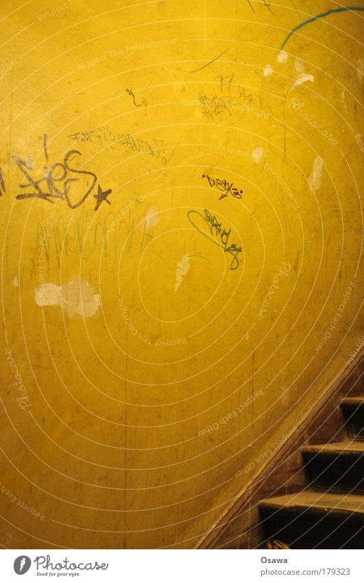 Old Wall (building) Building Graffiti Room Orange Stairs Information Staircase (Hallway) Text Old building Triangle Copy Space Dusty Daub
