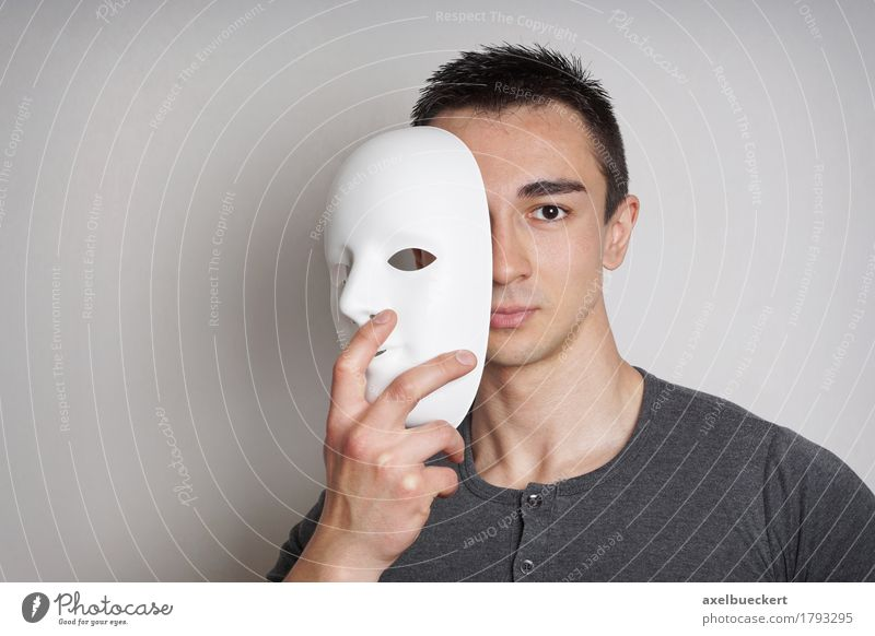 young man with mask Human being Youth (Young adults) Man White Young man 18 - 30 years Adults Masculine Copy Space Mysterious Mask Hide Black-haired Identity