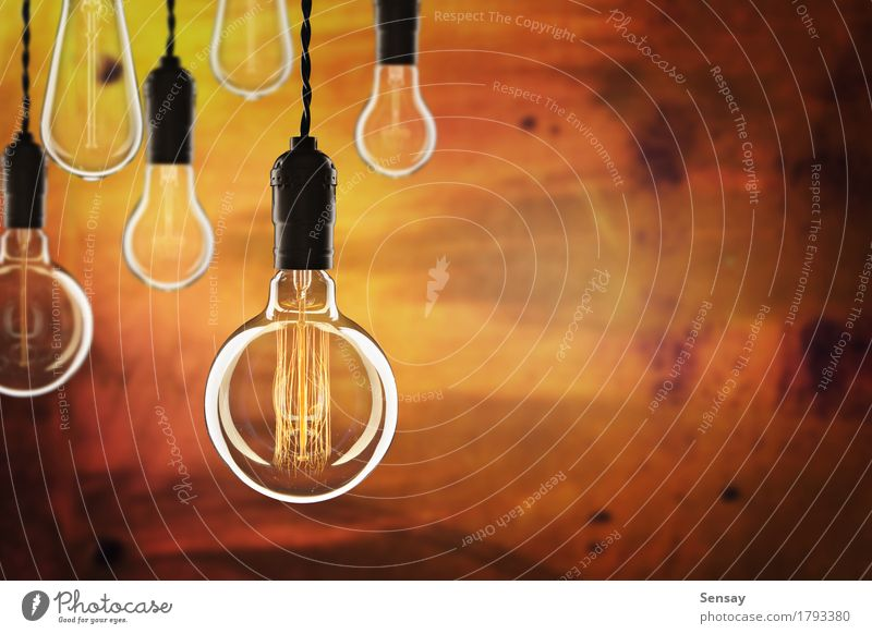 Idea and leadership concept Old Colour Red Yellow Lamp Design Bright Creativity Success Technology Energy Symbols and metaphors Science & Research Transparent