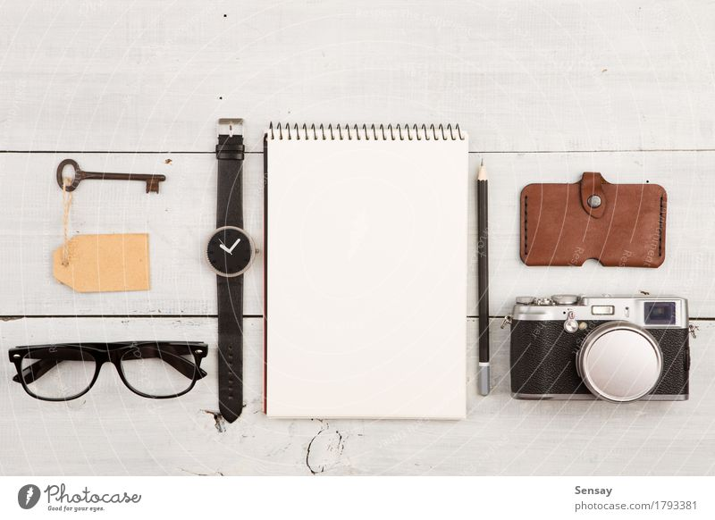 travel concept - set of cool stuff with camera and other things Vacation & Travel Man White Adults Fashion Office Vantage point Table Photography Things Observe
