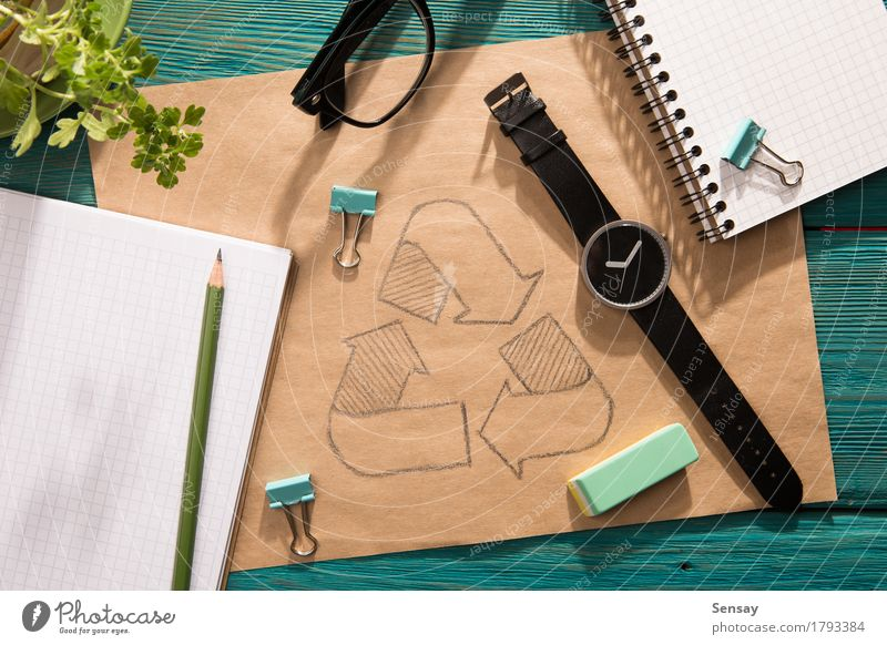 Green energy concept - notepad with sketch on the desk Nature Plant Blue Green Sun Flower Hand Environment Natural Wood Business Copy Space Office Vantage point Table Energy