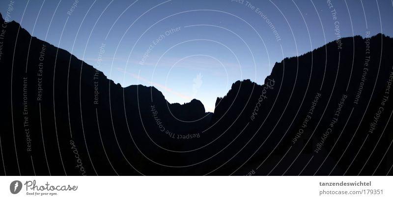 Sky Blue Black Far-off places Mountain Landscape Stars Large Horizon Mountain range