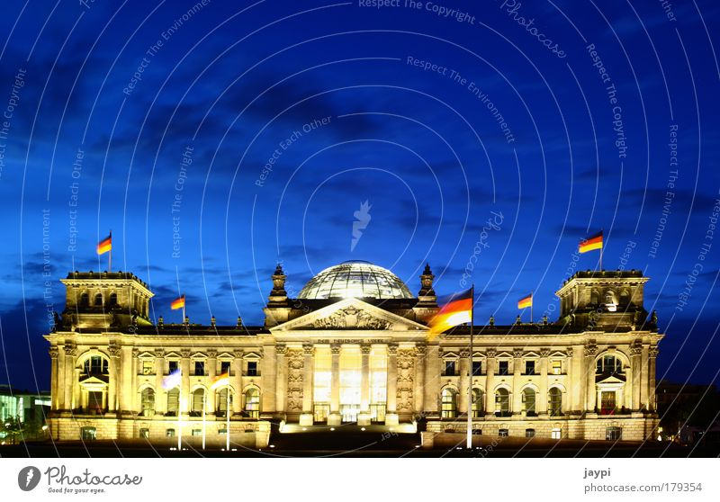 Blue Yellow Berlin Architecture Building Gold Politics and state Illuminate Flag Manmade structures German Flag Monument Night Landmark Downtown Downtown Berlin