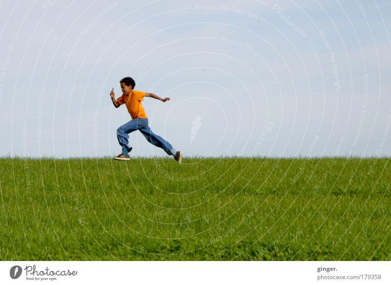Child Sky Nature Summer Landscape Meadow Boy (child) Grass Movement Human being Leisure and hobbies Walking Footwear Speed T-shirt Target