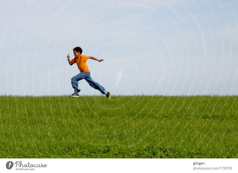 final spurt Leisure and hobbies Nature Landscape Sky Summer Beautiful weather Grass Meadow Jeans Sneakers Walking Running Athletic Speed Child Boy (child)