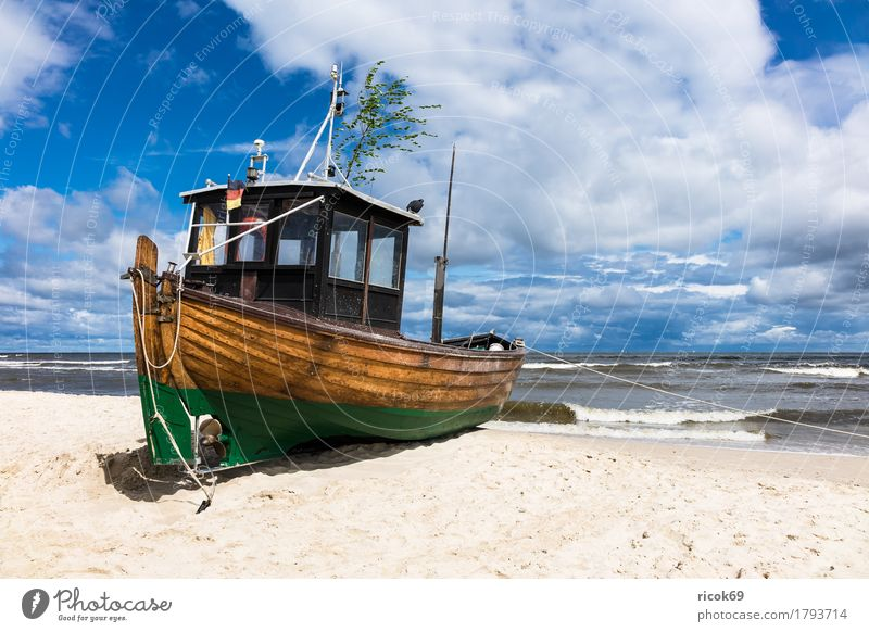 A fishing boat in Ahlbeck on the island of Usedom Relaxation Vacation & Travel Tourism Beach Ocean Nature Landscape Sand Water Clouds Coast Baltic Sea
